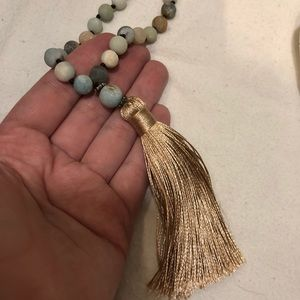 Copper closet earthy beads tassel necklace